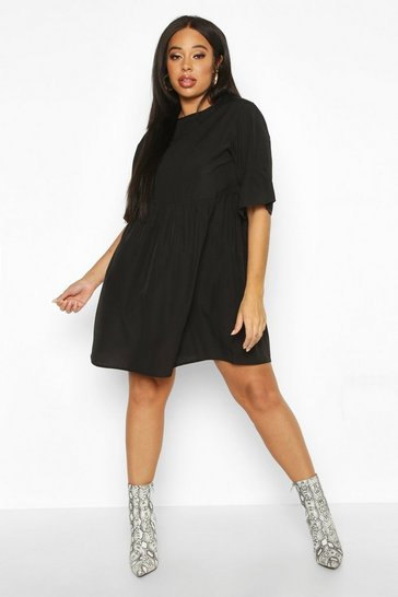 Womens Black Plus Woven Frill Sleeve Smock Dress
