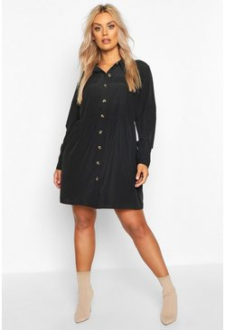 Womens Black Plus Button Through Smock Shirt Dress