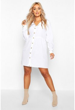 Ivory Plus Button Through Smock Shirt Dress