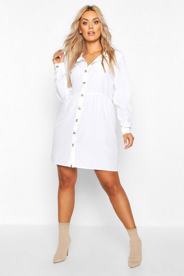 Womens Ivory Plus Button Through Smock Shirt Dress