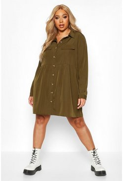 Khaki Plus Button Through Smock Shirt Dress
