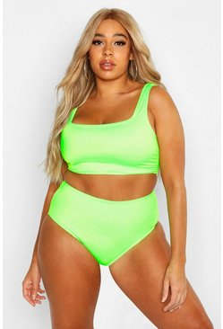 Womens Lime Plus Plain High Waist Bikini