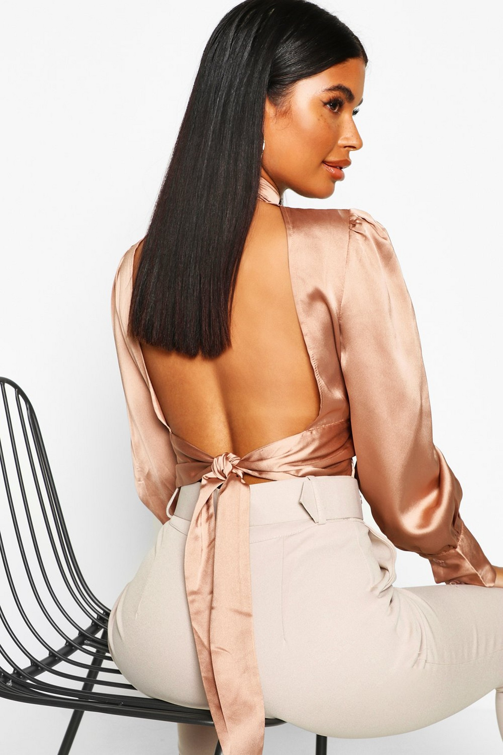 Petite Satin High Neck Tie Back Blouse by Boohoo