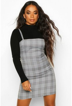 Womens Grey Petite Check Pinafore Dress