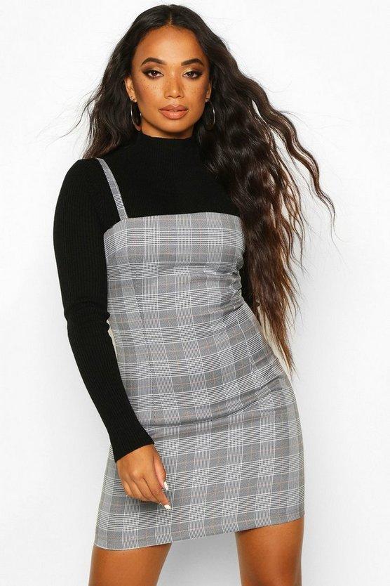 Petite Check Pinafore Dress