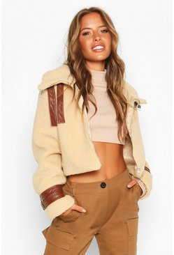 Tan Petite PU Detail Teddy Faux Fur Crop Jacket