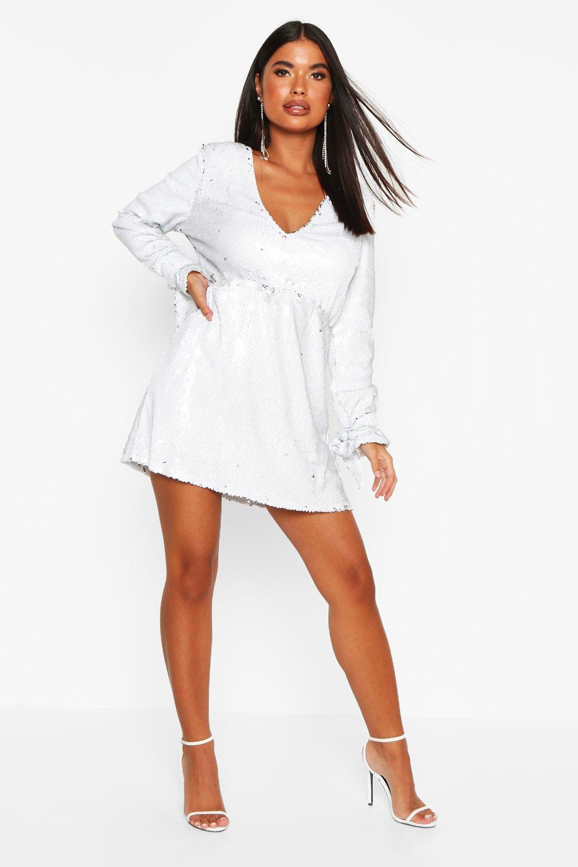 Petite Plunge Sequin Skater Dress, White
