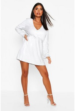 Womens White Petite Plunge Sequin Skater Dress