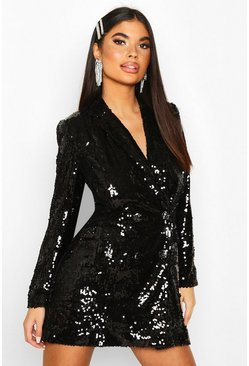 Womens Black Petite Sequin Blazer Dress