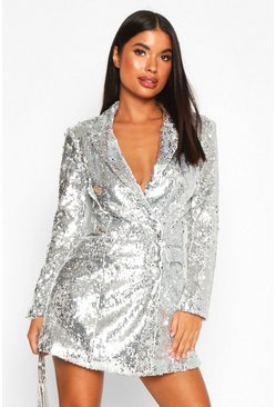 Silver Petite Sequin Blazer Dress