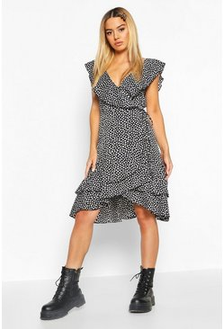 Black Petite Ruffle Wrap Smudge Print Midi Dress