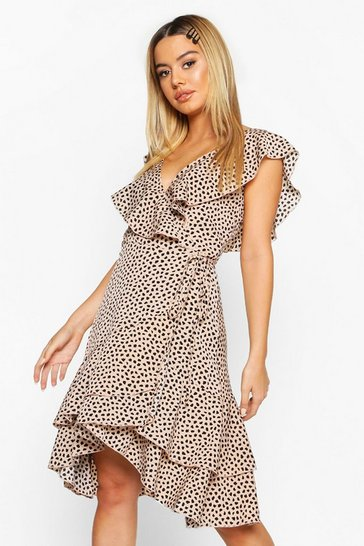 Womens Blush Petite Ruffle Wrap Smudge Print Midi Dress