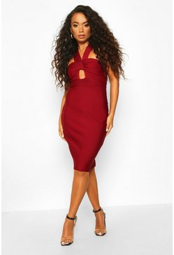 Womens Berry Petite Sculpting Bandage Twist Detail Midi Dress