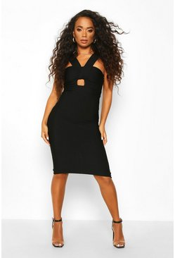 Black Petite Sculpting Bandage Twist Detail Midi Dress
