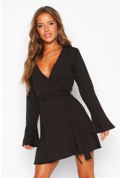 Womens Black Petite Woven Long Sleeve Belted Wrap Dress
