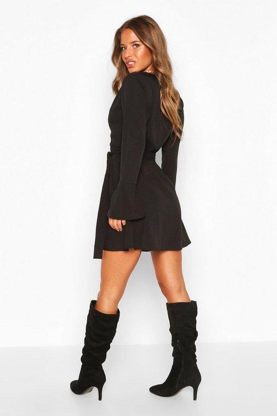 Petite Woven Long Sleeve Belted Wrap Dress