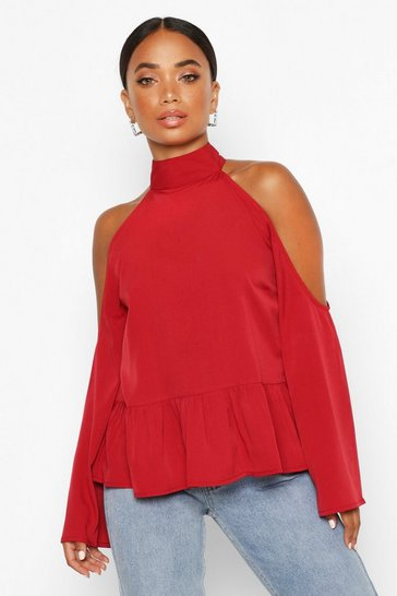 Womens Red Petite Cold Shoulder Peplum Top