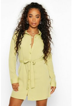 Womens Khaki Petite Woven Button Through Shirt Dress