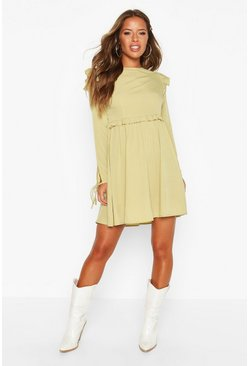 Womens Khaki Petite Frill Detail Tie Sleeve Smock Dress
