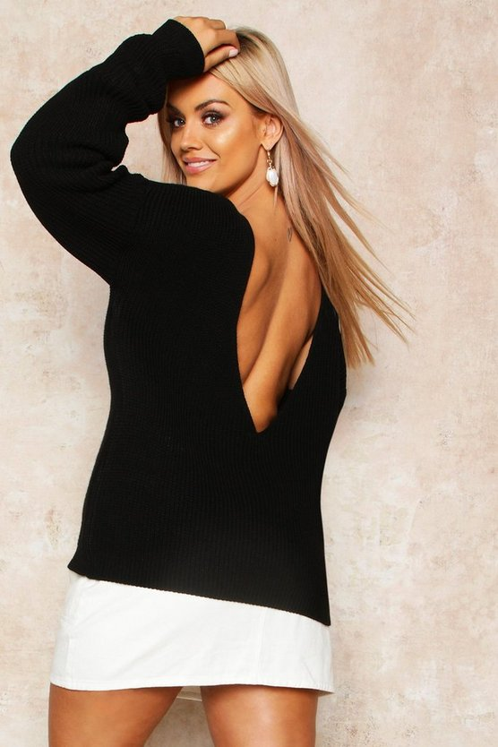 Black Plus V-back Oversized Jumper