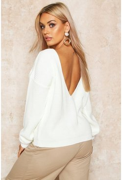 Ecru Plus V-Back Oversized Jumper