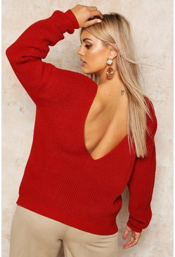Womens Rust Plus V-Back Oversized Jumper