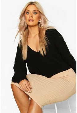 Womens Black Plus V-Neck Fisherman Crop Jumper