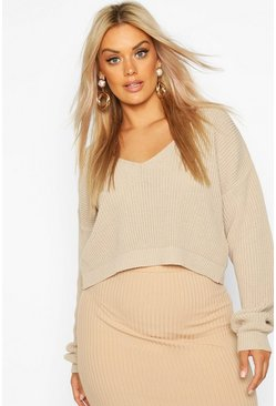 Womens Stone Plus V-Neck Fisherman Crop Jumper