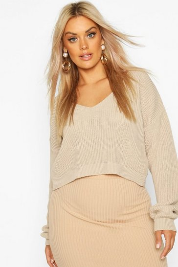 Stone Plus V-Neck Fisherman Crop Jumper