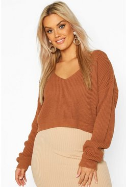 Toffee Plus V-Neck Fisherman Crop Jumper