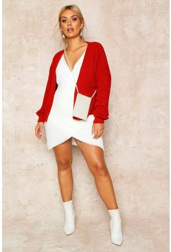 Womens Brick red Plus Oversized Cropped Cardigan