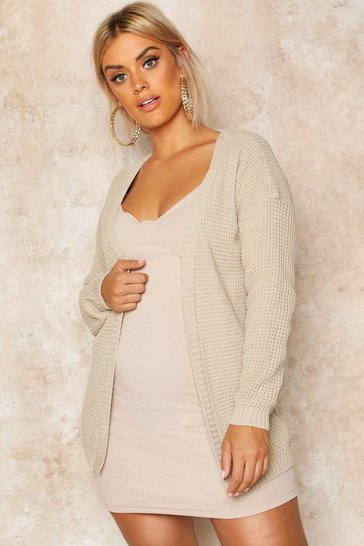 Stone Plus Edge To Edge Waffle Knit Cardigan