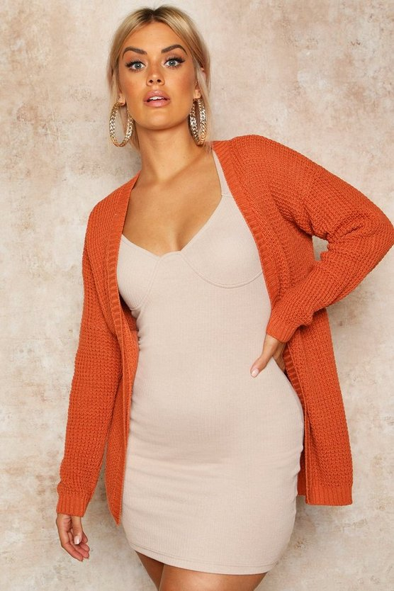Womens Toffee Plus Edge To Edge Waffle Knit Cardigan