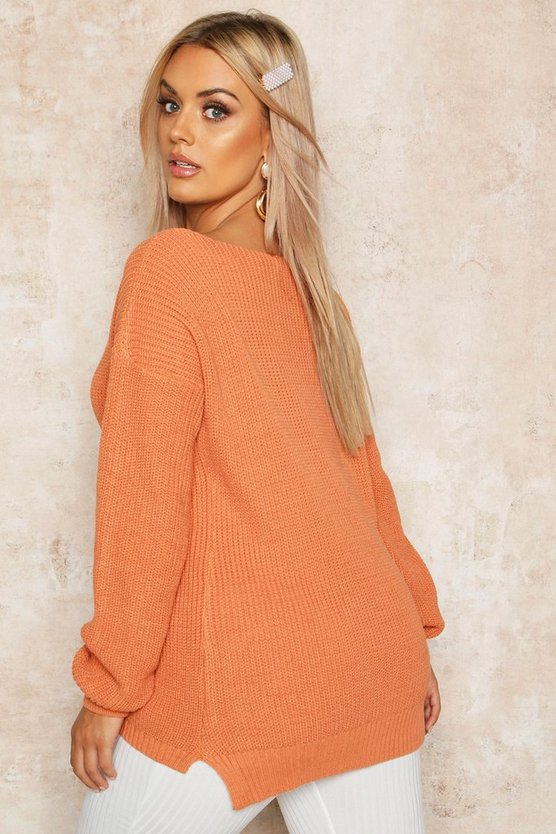 Plus Oversized V-Neck Jumper
