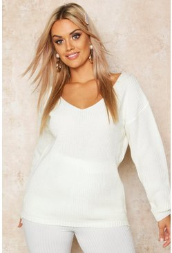 Womens Ecru Plus Oversized V-Neck Jumper