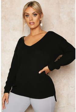 Womens Black Plus Oversized V-Neck Jumper