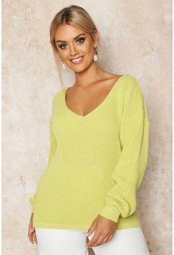 Womens Soft lime Plus Oversized V-Neck Jumper