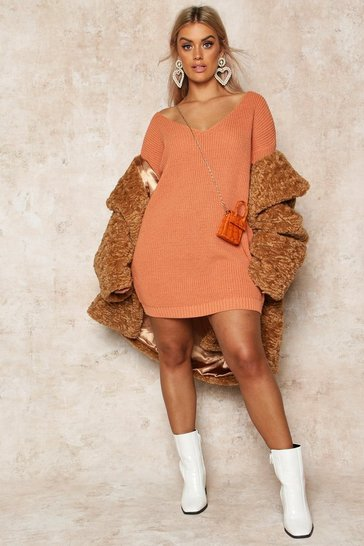 Apricot Plus V-Neck Jumper Mini Dress