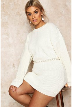 Womens Ecru Plus Crew Neck Jumper Dress