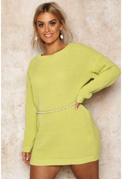 Womens Soft lime Plus Crew Neck Jumper Dress