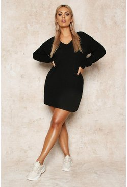 Womens Black Plus Rib V-Neck Jumper Dress