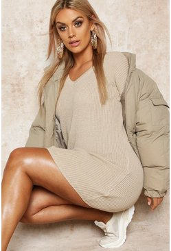 Womens Stone Plus Rib V-Neck Jumper Dress