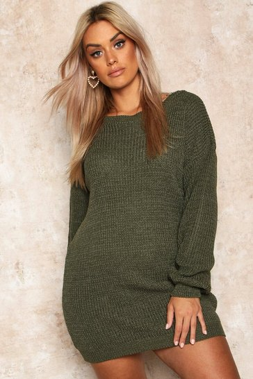 Womens Olive Plus Crew Neck Jumper Dress