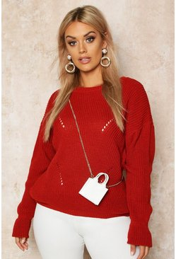 Womens Rust Plus Cuff Detail Fisherman Knit Jumper