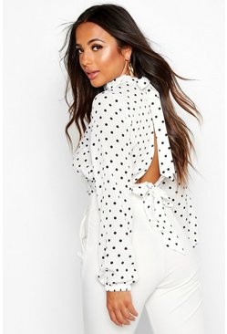 Womens White Petite High Neck Tie Back Spot Blouse