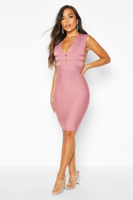 Womens Rose Petite Sculpting Bandage Strappy Midi Dress