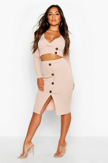 83f699584 Womens Stone Petite Button Down Skirt & Top Co-Ord
