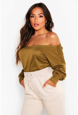 Petite Off Shoulder V-Back Sweat Top, Khaki, FEMMES