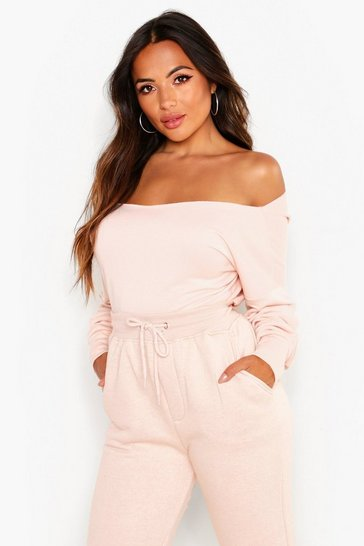 Womens Nude Petite Off Shoulder V-Back Sweat Top