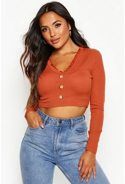 Dam Rust Petite Lettuce Hem Button Up Long Sleeve Crop Top
